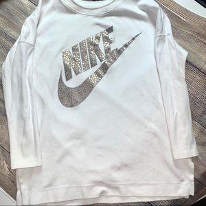 Nike long sweatshirt with rose gold swoosh